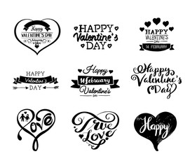 Valentine's Day Labels and Cards Set, Heart Icons Symbols, Greetings Cards