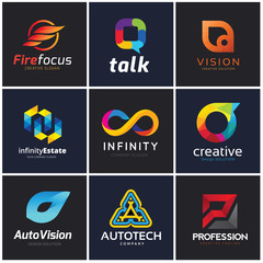 logo collection set automotive technology infinity creative idea vision photography social and communication.