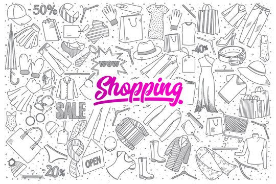Hand drawn set of shopping doodles with pink lettering in vector