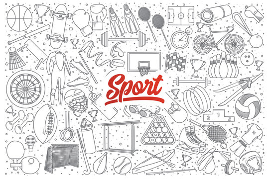 Hand drawn set of sport doodles with red lettering in vector