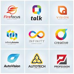 logo collection set automotive technology infinity creative idea vision photography social and comunication.