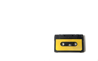 Vintage audiocassette on a white background