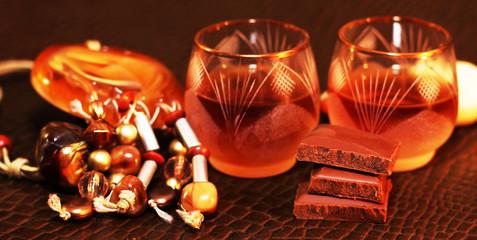 Liquor or brandy on table