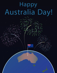 Background of Australia Day , National Celebration Card, , on a globe the planet Earth, in space Flag and salute