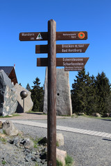 Wegweiser, Wanderweg, Mount Brocken, Nationalpark Harz, Torfhaus