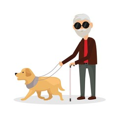 Blind man walking with his dog
