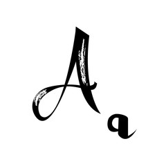 Letter A alphabet calligraphy. Handwritten calligraphy samples