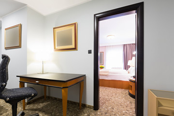 Interior of a modern new hotel room