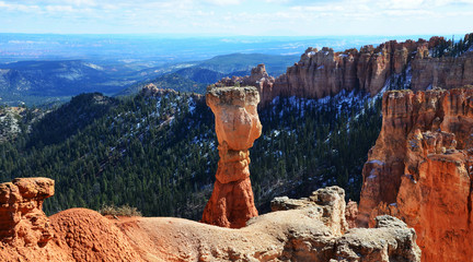 Bryce Canyon, Utah in Winter,  Thor's Hammer covered in snow
