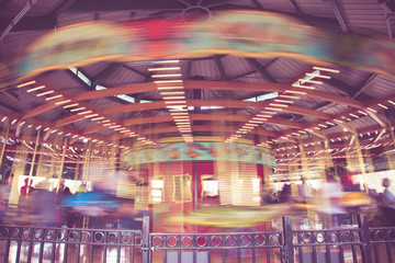 Vintage tone carousel with motion blur