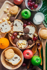 breakfast with cookie, bread , fresh fruits for healthy eating a