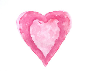 Red  heart on white isolation , watercolor hand painted on paper for valentines day, Art design element