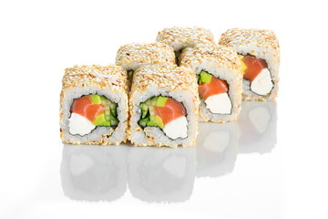 Stylish appetising sushi roll with salmon isolated on white