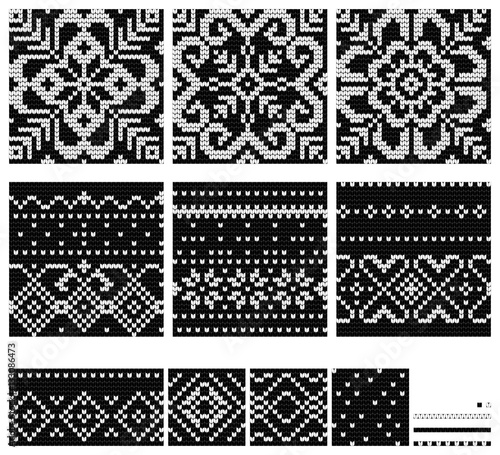 Set Of Norwegian Star Knitting Patterns Stock Image And Royalty