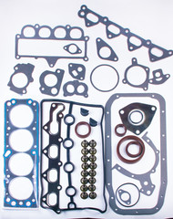 A large set of gaskets for the engine of a passenger car. Separated on a white background. Spare auto parts for shop, aftermarket OEM. Isolated set for repairs.