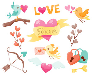 Set of cute Valentine day elements. Birds fall in love, hearts, love padlocks and more. Vector illustration for your design.