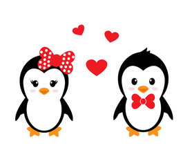 cartoon cute penguin set with heart