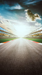 Poster Motorise View of the infinity empty asphalt international race track, digital imaging recomposition montage background . evening scene .