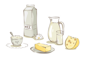Milk and dairy products -- set / Collection vector illustrations, clip art -- dairy and farm products
