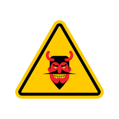 Attention devil. Dangers of yellow road sign. Satan Caution!