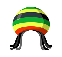 Rastafarian hat and dreadlocks isolated. Jamaica cap and hair