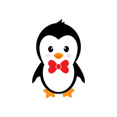 cartoon cute penguin with tie