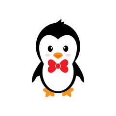 cartoon cute penguin with tie