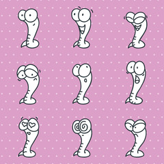 Set of funny doodle worms