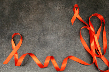 Red ribbon awareness isolated  Symbolic color logo concept raising help campaign on people health public support on HIV STD heart disease