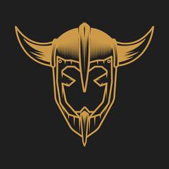 Viking helmet concept. Logo on black background.