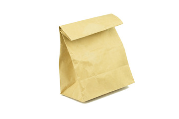 recycle brown paper bag isolated on white