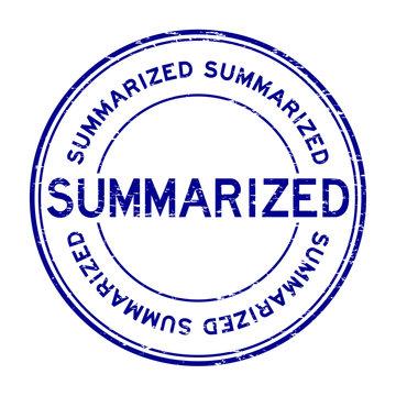 Grunge blue summarized round rubber stamp