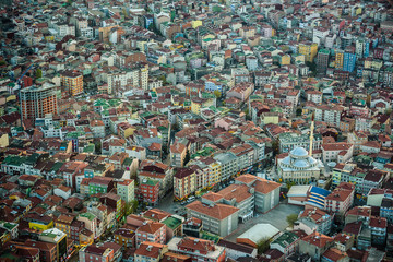 Panoramic views of Istanbul buildings from the height