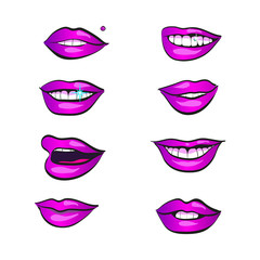 Women lips icon with emotions in purple. Vector.