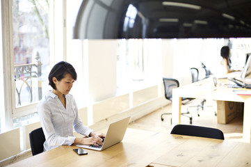 Japanese young businesswoman using laptop in office