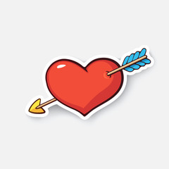 Vector illustration. Heart with arrow. Valentine's Day symbol. I love you. Cartoon sticker in comic style with contour. Decoration for greeting cards, posters, patches, prints for clothes, emblems