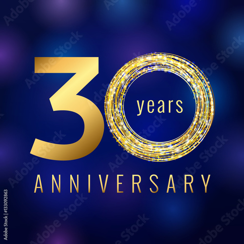 Anniversary 30 Year Number Gold Colored Vector Logo Thirty Years
