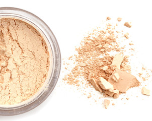 make up loose cosmetic powder close up