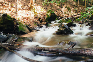 Mountain river in the Carpathian mountains, the stones in the river