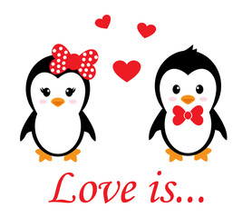 cartoon cute penguin set with heart with text