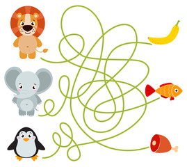 Cute animal educational maze game. Vector illustration of maze(labyrinth) educational game with cute cartoon elephant, lion, penguin for children