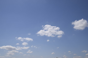 Heavenly landscape with clouds. Cumulus clouds in the sky