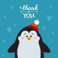 Cartoon penguin isolated on background. Thank you handwritten vector illustration. Lettering Thank you. Vector illustration