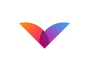 Initial Letter V Gradient Modern Logo Design Element