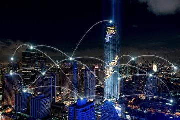 Smart city and wireless communication network, business district