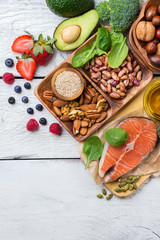 Selection of healthy food for heart, life concept