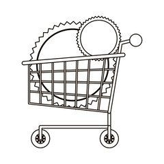 Shopping cart and seal stamp icon. Commerce market store and shop theme. Isolated design. Vector illustration
