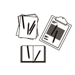 Document and pencils icon. Paper data archive and office theme. Isolated design. Vector illustration