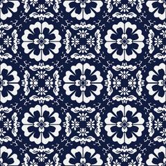 Seamless Blue Japanese Background Cross Spiral Round Flower Kale