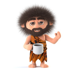 3d Funny cartoon caveman drinks a cup of coffee